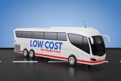 Grote Witte de Reisbus van Bustour inter city met Lage Kostenteken het 3d teruggeven vector illustratie