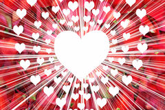 Grote witte hartrand met kleinere harten op droge roze bloemblaadjeachtergrond Royalty-vrije Stock Foto's