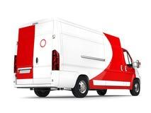 Grote witte leveringsbestelwagen met rode details - staartmening royalty-vrije illustratie
