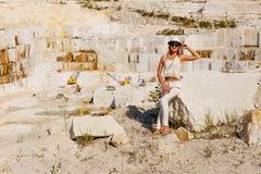 Grote witte marmeren steengroeve, mijnsteengroeve Royalty-vrije Stock Fotografie
