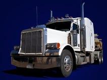 Grote Witte Vrachtwagen op Blauw Stock Afbeelding