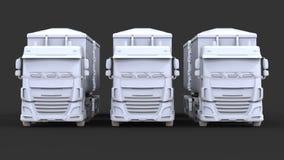 Grote witte vrachtwagens met afzonderlijke aanhangwagens, voor vervoer van landbouw en de bouw bulkmaterialen en producten Stock Foto's