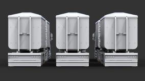 Grote witte vrachtwagens met afzonderlijke aanhangwagens, voor vervoer van landbouw en de bouw bulkmaterialen en producten Stock Afbeelding