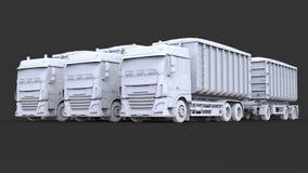 Grote witte vrachtwagens met afzonderlijke aanhangwagens, voor vervoer van landbouw en de bouw bulkmaterialen en producten Royalty-vrije Stock Foto