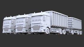 Grote witte vrachtwagens met afzonderlijke aanhangwagens, voor vervoer van landbouw en de bouw bulkmaterialen en producten Stock Fotografie