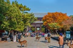 Grote Zuidenpoort (Nandaimon) bij Todaiji-Tempel in Nara Royalty-vrije Stock Fotografie