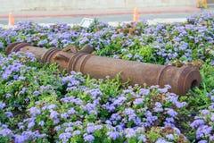 Grote zware kanonnen De oude militaire wapens liggen in bloemen royalty-vrije stock foto