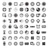Grote zwarte geplaatste klokpictogrammen royalty-vrije illustratie