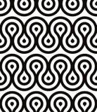 Grotesk golven naadloos patroon, zwart-witte retro stijl geometrische vectorachtergrond Stock Foto
