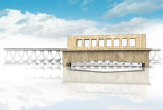 Grotesk handrail med träbänken i himmel royaltyfri illustrationer