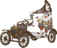 Grotesk steampunkbil och ledsen clown royaltyfri illustrationer