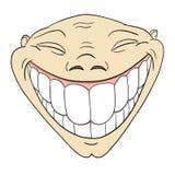 Groteskes lustiges Gesicht der Karikatur mit großem toothy Lächeln Stockfotos