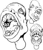 Grotesque. Face outlines, 3 position variants, black and white royalty free illustration