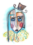 Grotesque. Abstract portrait. Crying person with dark eye bags and small cylinder hat. Watercolor painting royalty free illustration