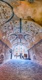 Grotesque frescoes in a vaulted arcade in Assisi, central Italy Royalty Free Stock Photos