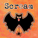 Grotesque halloween bat. With spider (separate elements in vector) with word Scream in grunge royalty free illustration