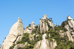 Grotesque peaks thrusts itself towards the sky. This photo was taken in Mt. Sanqingshan.Photo taken on:Oct 21th,2015.Mt. Sanqingshan, located in northeast of Royalty Free Stock Images