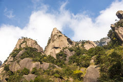 Grotesque peaks thrusts itself towards the sky. This photo was taken in Mt. Sanqingshan.Photo taken on:Oct 21th,2015.Mt. Sanqingshan, located in northeast of Royalty Free Stock Image