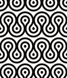Grotesque waves seamless pattern, black and white retro style geometric vector background Stock Photo