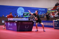 GROTH Jonathan from Denmark on serve. Montreux, Switzerland, 3 February 2018. GROTH Jonathan third place at the ITTF European Top 16 Stock Photos