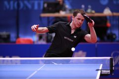 GROTH Jonathan from Denmark top spin. Montreux, Switzerland, 3 February 2018. GROTH Jonathan third place at the ITTF European Top 16 Stock Image
