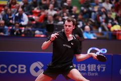 GROTH Jonathan from Denmark top spin. Montreux, Switzerland, 3 February 2018. GROTH Jonathan third place at the ITTF European Top 16 Stock Images