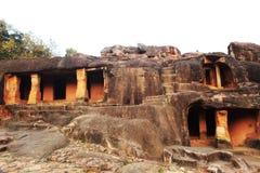 Grotta av udaygirien i den bhubaneswar odishaen royaltyfri foto