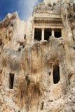 Grotta för forntida gravvalv av Bnei Hezir i Jerusalem Royaltyfri Fotografi