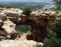 Grotta Keshet i Galileen, Israel Arkivbild