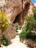 Grotta Mangiapane, Sicilien, Italien Arkivfoto