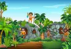 Grottafolk som bor i skogen Royaltyfria Bilder