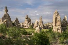 Grottahuset av felika lampglas vaggar champinjonen i Pasabag, munkar dalen, Cappadocia, Turkiet arkivbilder