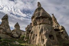 Grottahuset av felika lampglas vaggar champinjonen i Pasabag, munkar dalen, Cappadocia, Turkiet Royaltyfri Foto
