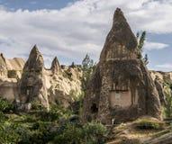 Grottahuset av felika lampglas vaggar champinjonen i Pasabag, munkar dalen, Cappadocia, Turkiet Arkivfoton