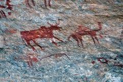 Grottamålning av tjuren & kamlet royaltyfri fotografi