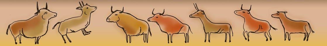 Grottamålningar av tjurar och getter vektor illustrationer