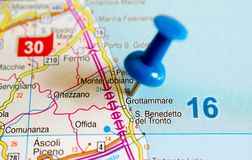 Grottammare on map. With push pin Royalty Free Stock Images