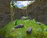Grottan stock illustrationer