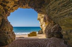 Grottan på Praia gör Beliche Fotografering för Bildbyråer