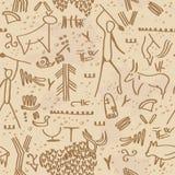 Grottapetroglyphs Vektor Illustrationer