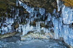 Grotte de glace de Baikal Photos stock