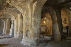 Grotte del delle di Chiesa san Michele della La, Gravina, Puglia, Italia Immagini Stock