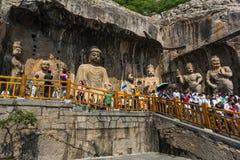 Grottes de Luoyang Longmen dans Henan, Chine Images libres de droits