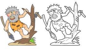 Grottmänniska som förbereder sig att slåss Arkivfoton