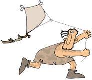 Grottmänniska som flyger en drake stock illustrationer