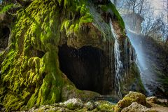 Grotto, ένας τεχνητός καταρράκτης Malievtsy, περιοχή Khmelnitsky, Στοκ Εικόνα