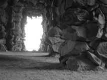 Grotto (Black & White). Grotto made of natrual stones in Black & White stock photography