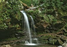 Grotto Falls. Beautiful Grotto Falls along the Roaring Fork Motor Trail royalty free stock image