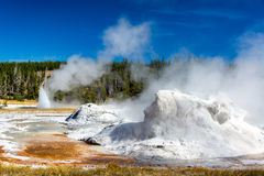 Grotto Geyser View. View of Grotto Geyser in the Upper Geyser Basin in Yellowstone National Park stock photo
