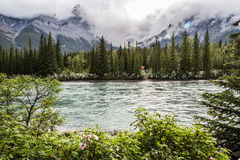 Grotto mountain and the Bow river in Canmore Stock Image